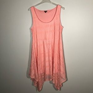 Torrid Peach Asymmetrical Lace Dress SZ 3X